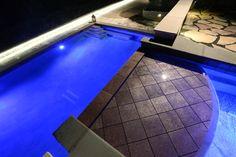 Grayslake, IL - Fantastic Custom built Pool & Waterfall with upper Reflecting Pool.  Quantus Pools quantuspools.com 847-907-4995