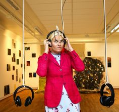 Crown Princess Mette-Marit at an exhibition during her visit to the City Molde