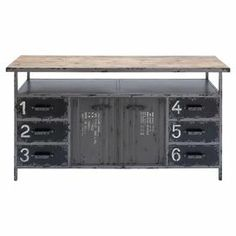 "Industrial-style wood and metal cabinet with 6 stencil-numbered drawers.      Product: CabinetConstruction Material: Wood and metalColor: Grey and naturalFeatures:   Six stencil-numbered drawersTwo doorsOne open shelfSix drawers Dimensions: 30"" H x 56"" W x 16"" D"