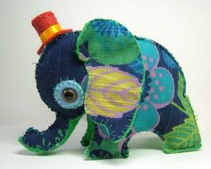 Handmade Elephant toy from retro fab curtains (Img)