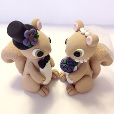 Squirrel Wedding Cake Topper Choose Your Colors by topofthecake
