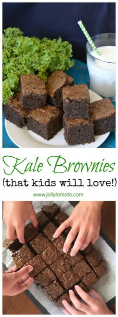 Healthy Snacks For Kids Kale brownies (really!) that kids will love. - A dense, fudgy, chocolate-y brownie with a surprise secret ingredient: kale. Healthy Desserts, Just Desserts, Dessert Recipes, Healthy Treats For Kids, Healthy Food, Drink Recipes, Dinner Recipes, Spicy Recipes, Cooking Recipes