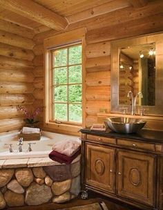 Love the warmth of wood and even more so with eye pleasing rock!