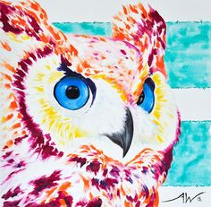 'NIGHT VISION' Owl Painting | Owl Art (h) 95cm x (w)95cm  By Aidan Weichard  // Original Oil Painting on Canvas // 2015  'NIGHT VISION' is looking for a good home! Email me with any enquiries.