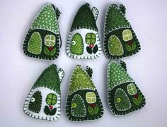 Felt Christmas ornaments 3 House decorations by PuffinPatchwork