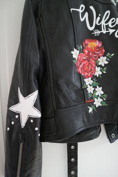 Handpainted bride leather jacket by Troubelle. Wedding Jacket, Something Special, Vintage Denim, Custom Made, Custom Design, Cool Designs, Bomber Jacket, Leather Jacket, Hand Painted