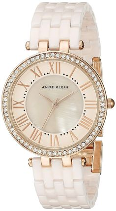 Anne Klein Women's AK/2130RGLP Swarovski Crystal-Accented Rose Gold-Tone and Light Pink Ceramic Bracelet Watch ** Check out the watch by visiting the link.