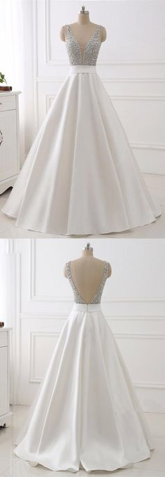 elegant v-neck white prom dress with beading, classic v back white party dress with beading