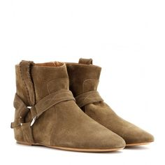 Isabel Marant Ralf Suede Ankle Boots ($315) ❤ liked on Polyvore featuring shoes, boots, ankle booties, brown, brown suede booties, brown ankle boots, short brown boots, brown booties and suede boots