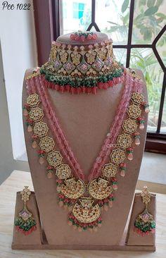 Bridal Necklace Set, Bridal Bangles, Indian Wedding Jewelry, Wedding Jewelry Sets, India Jewelry, Gold Jewelry, Jewelery, Fancy Jewellery, Bridal Jewellery