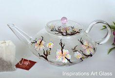 Glass Teapot, Sakura Teapot, Cheery blossom Teapot, Handmade Tea Pot, Hand painted teapot, Colorful teapot, Glass Art, Swarovski Crystals