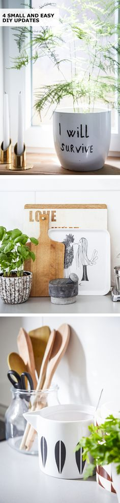 Want to give your space a new look without spending a lot? Try one of these IKEA ideas for 4 small and easy updates - from turning a chopping board into a message board to creating a DIY trunk table! Photography by Dan Duchars. Styling by Sam Grigg.