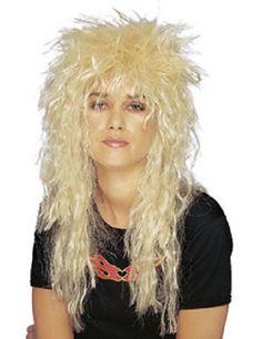 Adults Rocker Mullet Wig Wild Punk Spiky Music Fancy Dress 80/'s Accessory 40 cm