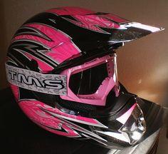 Polaris Women's Motorcycle Helmet  (Ladies Used Motorcross Bike Helmets, Pink & Black)