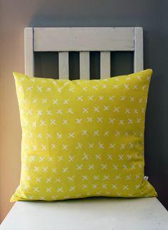 Yellow with White Crosses Cushion White Crosses, Felt, Cushions, Textiles, Throw Pillows, Yellow, Home, Felting, Toss Pillows