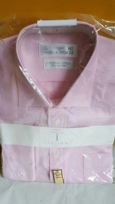 "Italian fabric baby pink straps superfine cotton M&S shirt 14.5"" Formal Casual"