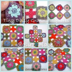 Make your own sophie!  THE FLOWER BED: A few Teeny Tiny Daisy Granny squares..