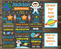 Boy's first birthday chalkboard sign, astronaut first birthday, astronaut birthday chalkboard, outer space theme party, space party, print
