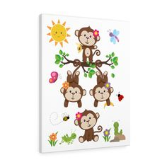 Kids Canvas, Canvas Wall Art, Canvas Prints, Kids Room Wall Art, Wall Art Decor, Girl Nursery, Nursery Decor, Room Decor, Monkey Decorations