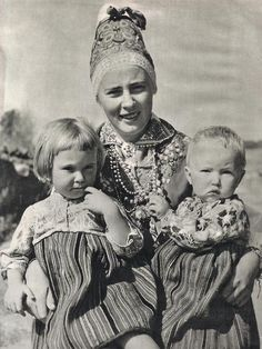 Kihnu woman with children. Photo by K.Oras 1961. Estonia