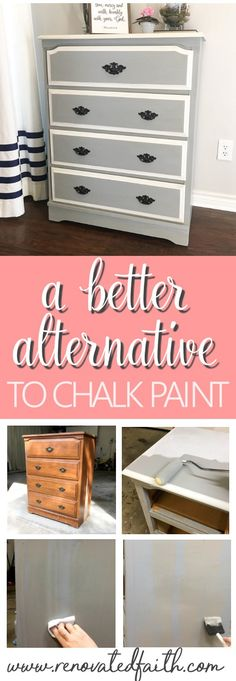 Refinish furniture with less cost time and hassle while achieving a more durable finish with my better alternative to chalk paint. I'll even show you how to get the aged look of dark wax without the extra time involved. - May 11 2019 at Diy Furniture Dresser, Bedroom Furniture Makeover, Chalk Paint Furniture, Furniture Making, Furniture Projects, Cheap Furniture, Art Furniture, Furniture Stores, Simple Furniture