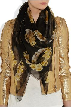 Alexander McQueen Skull and floral-print silk-chiffon scarf NET-A-PORTER.COM