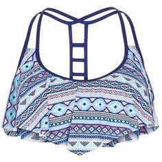 Blue Aztec Print Flounce Bikini Top ($21) ❤ liked on Polyvore featuring swimwear, bikinis, bikini tops, ruffle tankini top, swim tops, ruffle swim top, swimsuits tops and ruffle swimsuit top