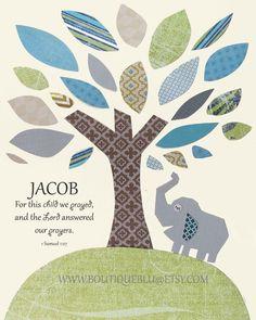 Baptism Bible Verse, Baby Boy Nursery, Elephant Nursery, Personalized Baptism Gift, Pottery Barn, Nursery Decor, Baby Boy Wall Art -ELEPHANT...