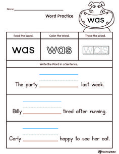 best kindergarten sight word worksheets images  sight word  free build sentences using sight word was worksheetread