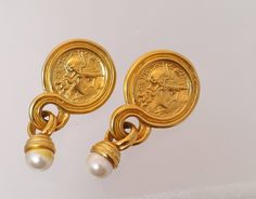 Vintage Roman Coin Gold Pearl Dangle Earrings, Faux Costume Jewelry Post Pierced Drops by Snowyowltreasures on Etsy
