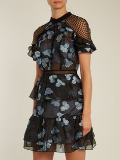 Self-portrait Open-back floral fil coupé mini dress