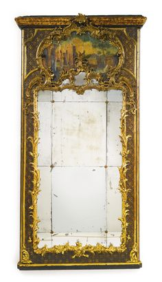 AN ITALIAN ROCOCO POLYCHROME-PAINTED AND CARVED GILTWOOD TRUMEAU SICILY, MID-18TH CENTURY height 86 in.; width 44 in.