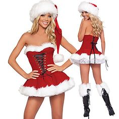 Hot rojo lindo Fur Dress Christmas Costume (2 Piezas) – EUR € 17.32