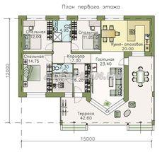 """🏠 """"Яркий мир"""" - одноэтажный дом с высокой гостиной и просторной террасой: цены, планировка, фото. Купить готовый проект Gable Roof, House Roof, Bungalow, Tiny House, House Plans, Sweet Home, Villa, New Homes, Floor Plans"""