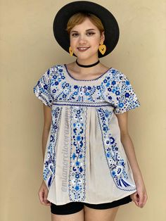 Cotton short sleeve blouse women, SMALL floral embroidered mexican blouse, beige blue shirt, floral summer top, cinco de mayo, boho hippie Mexican Blouse, Mexican Outfit, Embroidered Blouse, Embroidered Flowers, Floral Embroidery, Rebecca Evans, Short Sleeve Blouse, Short Sleeve Dresses, Romper Pattern