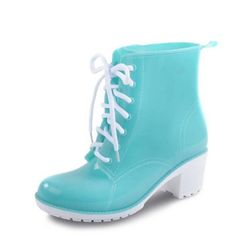 Autumn Rain Boots Women Ankle Boots Platform High Heels Rubber Shoes Woman  Lace Up Rainboots Candy e6c285473b2b