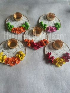 Tlite holders..diwali decor Thali Decoration Ideas, Diwali Decorations, Indian Wedding Decorations, Wedding Reception Decorations, Diwali Diya, Diwali Craft, Handmade Home Decor, Handmade Gifts, Water Candle