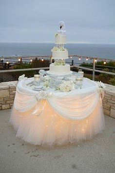 Lighting under dessert table is nice for the cake table and is especially glamorous for an outdoor evening wedding reception Wedding Table, Wedding Reception, Our Wedding, Wedding Cakes, Dream Wedding, Reception Food, Cake Tables For Weddings, Bridal Table, Fantasy Wedding