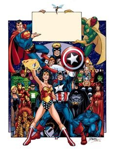 Even more JLA/Avengers artwork drawn by Pérez and colored by Smith, allegedly for the 2003 Pittsburgh Comicon (according to the man who posted this on deviantart.com) which happened at the end of April that year, 4+ months before the series (finally) hit the stands.  -(Characters © DC Comics/Entertainment or Marvel Comics/Characters/Entertainment and whichever corporate parents)-