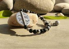 Bracelet en obsidienne noire et hématite, bracelet en obsidienne et hématite, bracelet hématite obsidienne, bracelet créateur en pierres gemmes : Bracelet par lapassiondisabelle