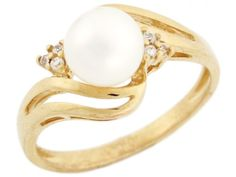10k Solid Gold CZ & Freshwater Cultured Pearl Elegant Day & Evening Fancy Ring Jewelry (Style#2925), Women's, Size: 7.5, White