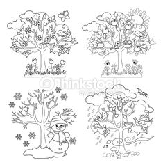 Four Seasons Trees Clipart and Vector with Spring, Summer, Fall and. Four Seasons árboles colorear Four Seasons Art, Seasons Of The Year, Tree Coloring Page, Coloring Books, Free Coloring, Free Vector Graphics, Free Vector Art, Tree Clipart, Coloring Pages Inspirational