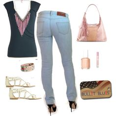 """Gypsy Details"" by bulletblues on Polyvore www.bulletbluesca.com #madeinUSA #bulletblues #jeans #fashion"