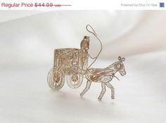 Huge Sale Filigree Brooch Horse Buggy Silver by Ladysfancys