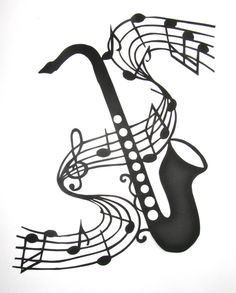 Saxophone and Music Notes  for MUSIC LOVERS Wall and by BoldFolds, $150.00