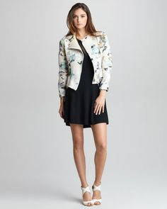 Floral-Print Corded Jacket & Sheer-Inset Merino Dress by 3.1 Phillip Lim at Bergdorf Goodman.