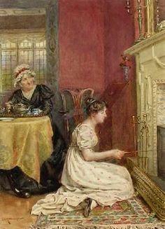 Toasting Bread ~ George Goodwin Kilburne ~ (English: 1839-1924)