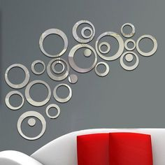 Hot Sales Free Shipping Circles Wall Stickers Mirror Style Removable Decal Vinyl Art Mural Wall Sticker Home adesivo de parede