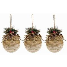 Polyfoam Glitter Ornament Balls with Greenery