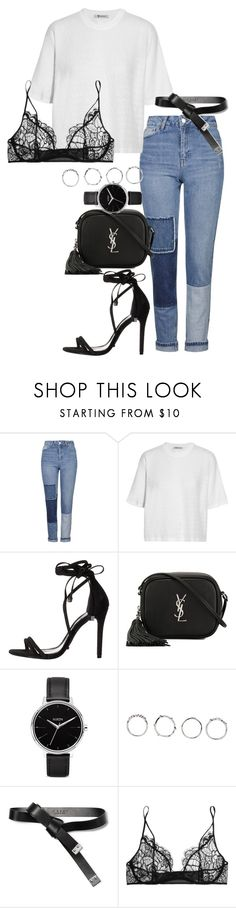"""""""#707"""" by blendingtwostyles ❤ liked on Polyvore featuring Topshop, T By Alexander Wang, Schutz, Yves Saint Laurent, Nixon, Boohoo, Marni and Kiki de Montparnasse"""